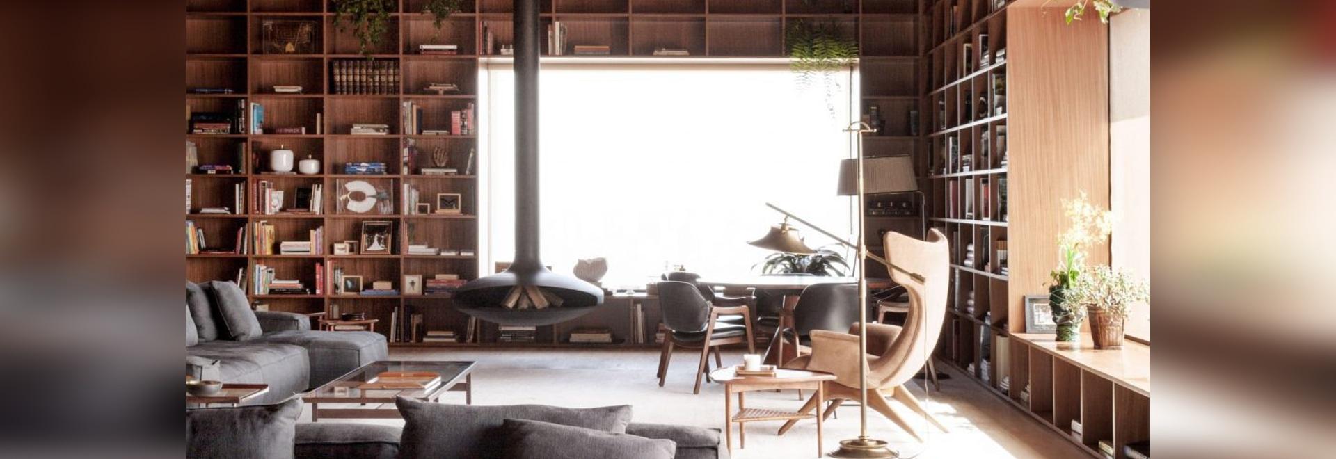 Studio MK27 creates giant shelving units in São Paulo penthouse