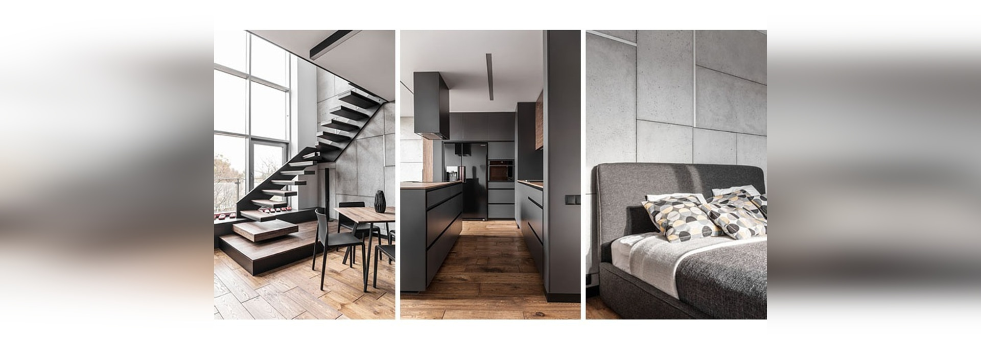 This Apartment's Palette Is Full Of Greys, Black, And Wood