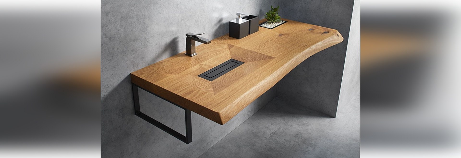 This Wood Vanity Has A Carved Out Sink And A Built-In Sunken Planter