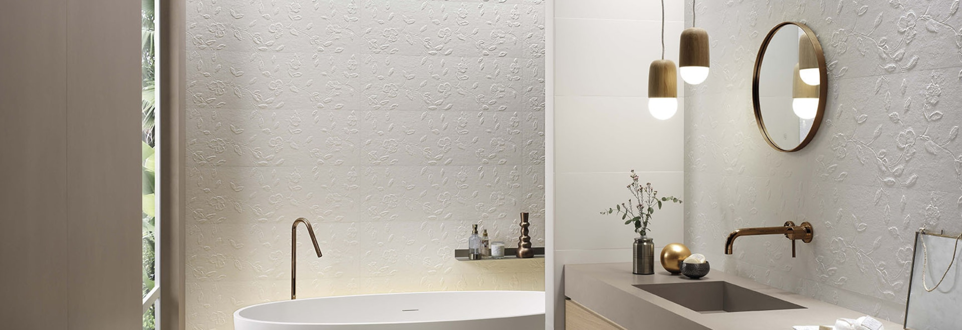 The timeless elegance of Lumina plays with volumes and is enhanced by new 3D tiles in size 30.5x91.5