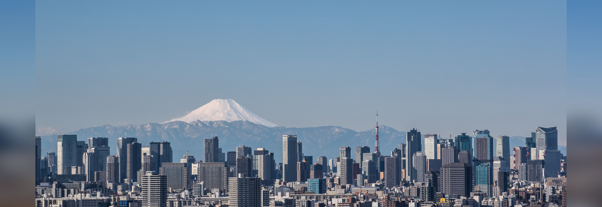Tokyo city view , Tokyo downtown building and Tokyo tower landmark with Mountain Fuji on a clear day. Tokyo Metropolis is the capital of Japan and one of its 47 prefectures.