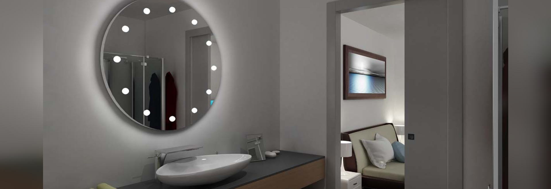 Unica lighed round mirror for bathroom