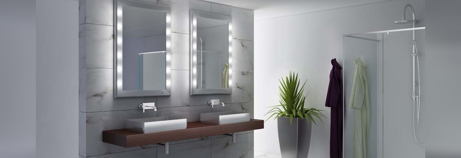 Unica lighted bathroom mirrors