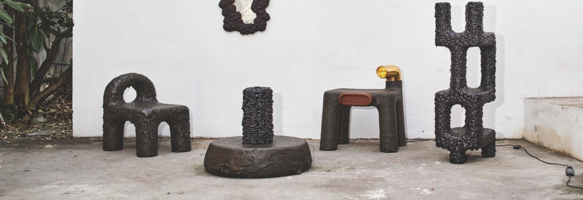 Unique works created by GT2P in which lava stone from Chilean volcanoes is variously worked before being fired in a kiln. From left, 'Remolten N1: Monolita Chair 15', 2019; 'Remolten N2: Self Organ...