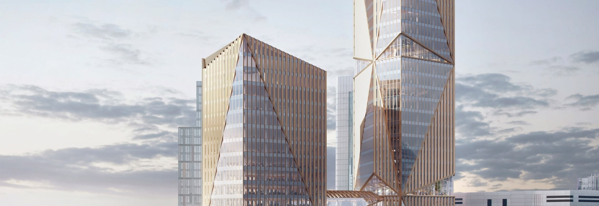 A visual of the 2 Finsbury Avenue towers. Top: the office complex will have green spaces and communal areas