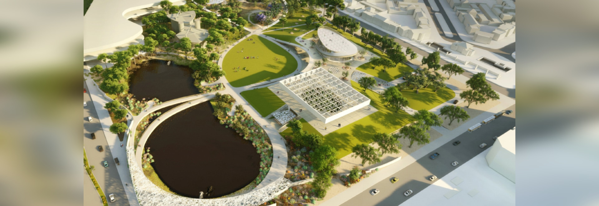 """WEISS/MANFREDI's master plan design, titled """"La Brea Loops and Lenses,"""" features a 3,281-foot-long pedestrian walkway framing natural elements across the 13-acre site"""