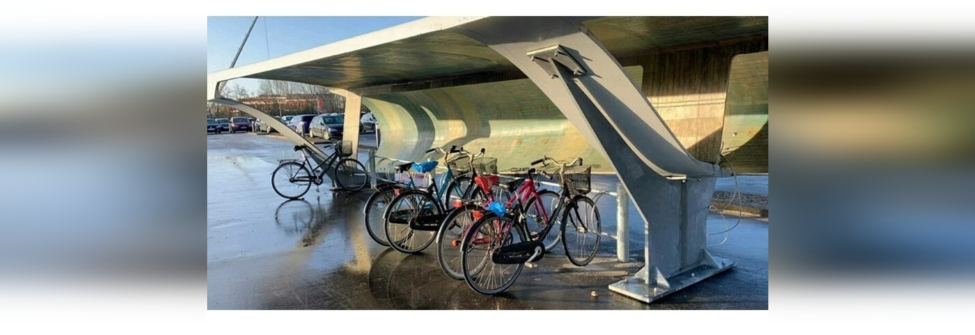 a wind turbine blade has been repurposed as a bicycle parking spot in aalborg, denmark  image courtesy of chris yelland