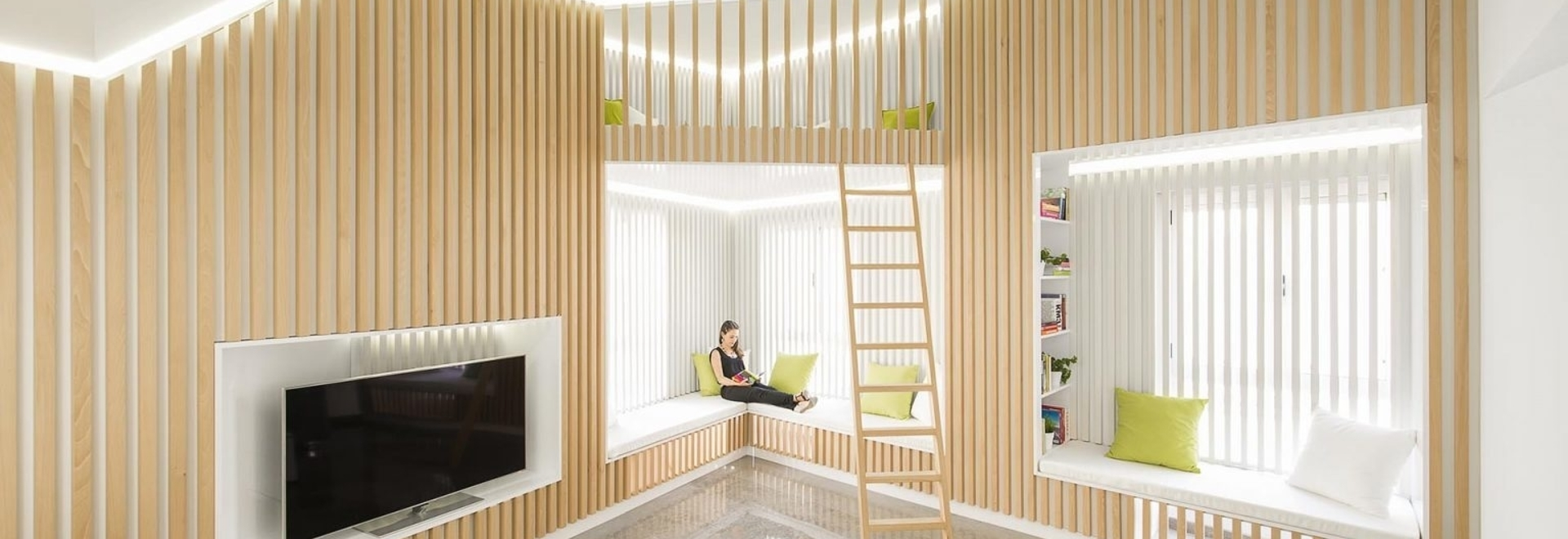 Wood Slats On The Walls Give This Home's Interior A Distinct Look