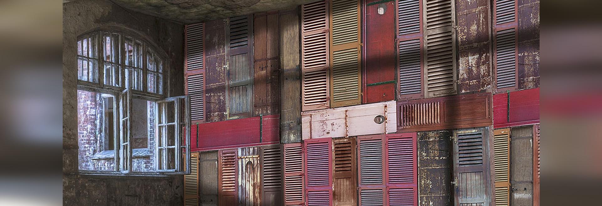 Wooden Shutter In Color Pattern Wallpaper In Creation