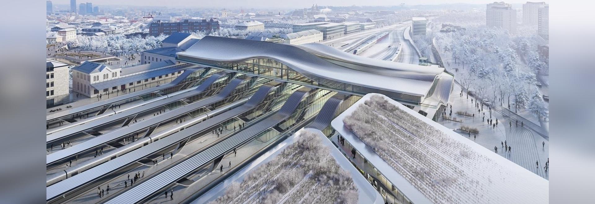 Zaha Hadid Architects designs sweeping bridge across Vilnius railway station
