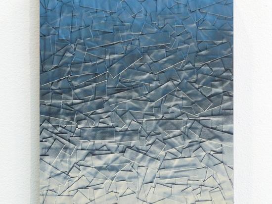 Julian Lorber, Sky Dirt, 2012, acrylic paint, soot, archival tape on wood panel, 25x20cm