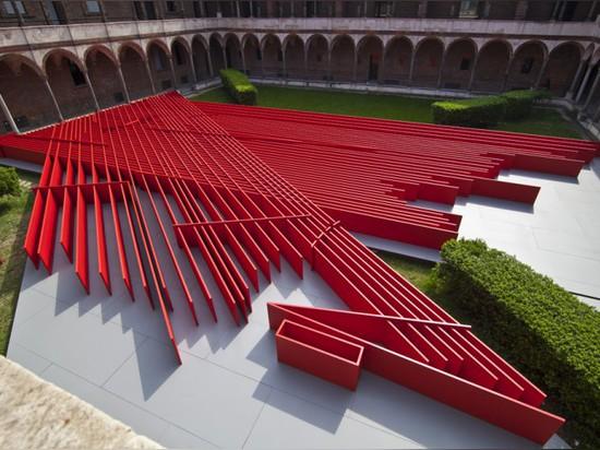 "MILAN 2015: DANIEL LIBESKIND'S ""FUTURE FLOWERS"" INSTALLATION CELEBRATES STRAIGHT LINES"