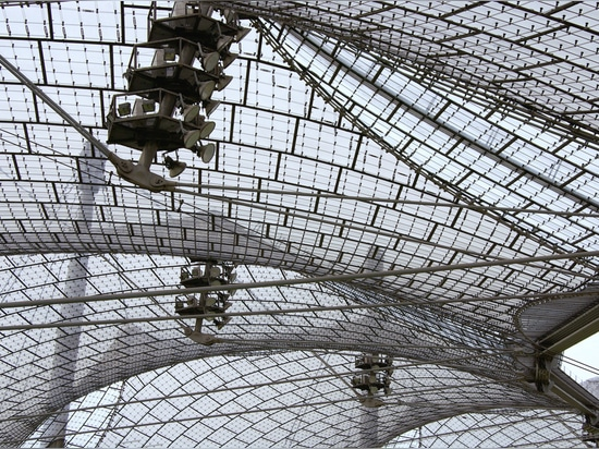 Acrylic glass and steel cable canopies of Munich's Olympic Stadium
