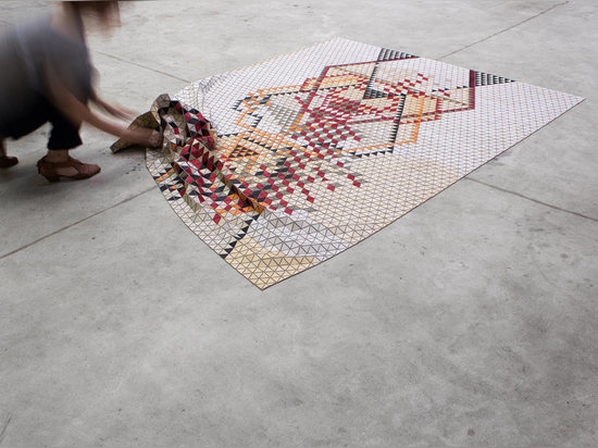 COLORFUL WOODEN RUGS BY ELISA STROZYK