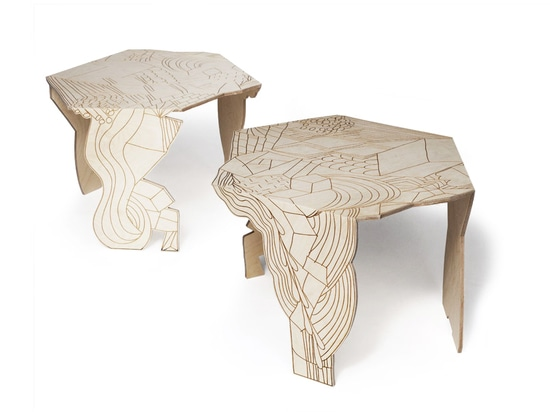 Burnt Doodle Table for Moroso