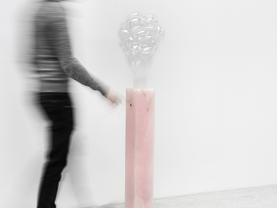 mathieu lehanneur forms pink onyx + blown glass S.M.O.K.E lamp for design miami/