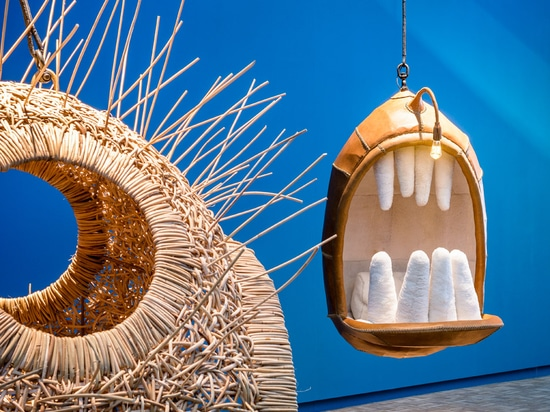 Porky Hefer's Fiona Blackfish is a killer-whale-shaped hanging chair