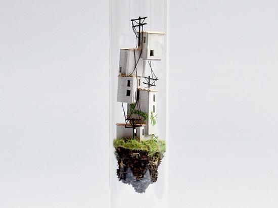 rosa de jong crafts miniature architectural environments inside test tubes