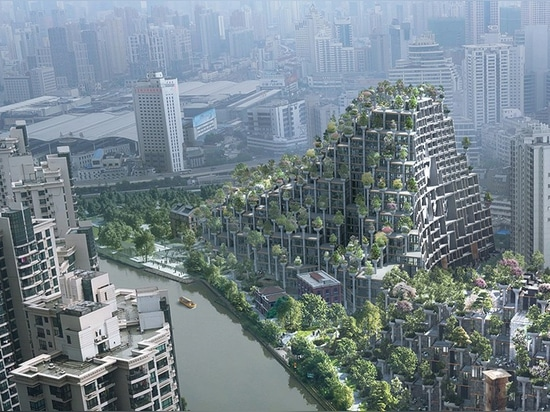 the design has been conceived as a piece of topography, taking the form of tree-covered mountains