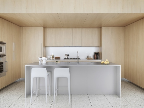 Minimalism always works great in a kitchen, provided it has enough storage potential, which this one definitely does. Using a lowered ceiling in a room without windows can sometimes make a space to...
