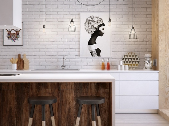 Fresh and creative. This kitchen contrasts dark and light materials for a powerful visual effect, echoed in the stylish dip-painted stools and powerful geometric artwork. The black and white print ...