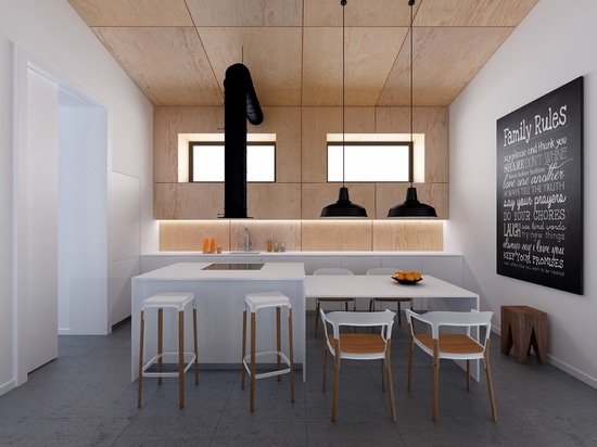 Industrial influences define this sleek space. The chairs and stools are from the Steelwood collection by Ronan and Erwan Bouroullec – named after the strikingly unusual combination of materials us...