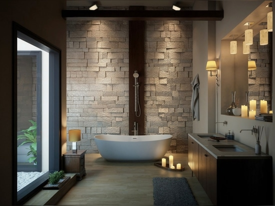 Irresistibly smooth and balanced. Fixtures centered on the wall of the tub can accommodate an occupant lounging in either direction.