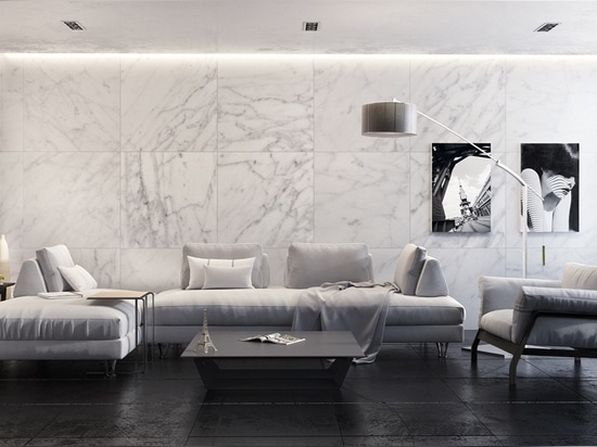 Bright white marble tiles make this monochromatic living room look luxurious, sharp, and clean.