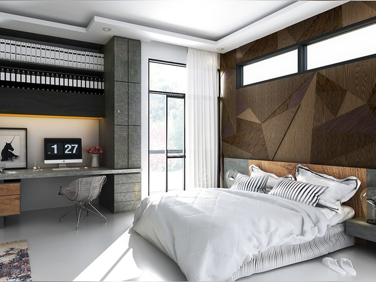 Rugged materials and geometric patterns give these bedroom walls a cool industrial appeal. Industrial-inspired design can sometimes make a room feel too cold, but the liberal use of contrasting tex...