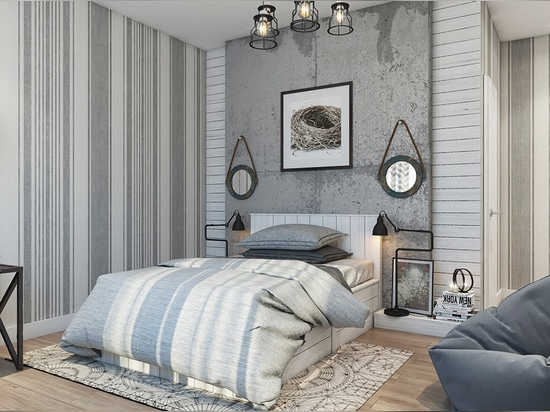 Concrete, pinstripes, and rough wooden boards make for a whimsical layered wall treatment. This bright and rustic design could serve as fantastic inspiration if you're looking for a way to use recl...