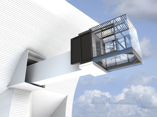 Retractable sunscreen sheaths glazed cantilever at Ventus House