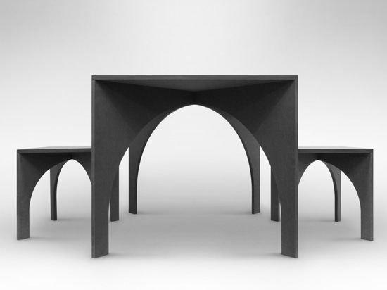 Table and stools based on architectural cross vaults by Graft Object