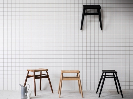 the 'imo' folding stool can be folded away easily