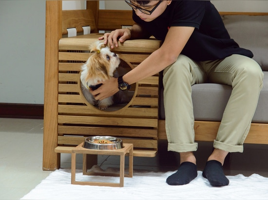 This outdoor sofa is designed for people and pets