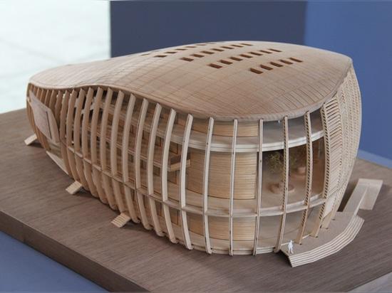 model of the 'unicredit pavilion' by aMDL wooden model scale 1:100 image © designboom