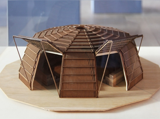 the haystack' installation for the milan expo 2015 by aMDL wooden model scale 1:50