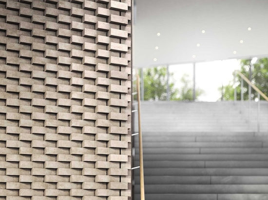 walls are lined with a jagged brick bond that echoes the configuration of the courtyard balconies