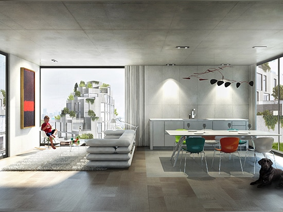 living accommodation includes floor-to-ceiling windows