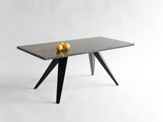 The 'Busy Petite' is one of the collection's two new tables. The steel metal legs are detachable    Read more at http://www.wallpaper.com/design/my-kilos-launch-black-stracciatella-at-stockholm-fur...