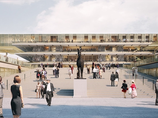 the grandstand is formed of a series of transparent 'shelves'