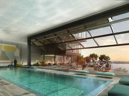 The building includes a large communal terrace and pool area facing the waterfront (its glass walls open fully uniting indoors and out), a day care facility, and 10,228 sq ft of retail on the groun...