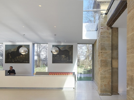 The new building sits next to the estate's existing gallery. Both spaces show pieces pulled from the owners' vast collection, which has been assembled by the Dukes of Portland over the last 400 years