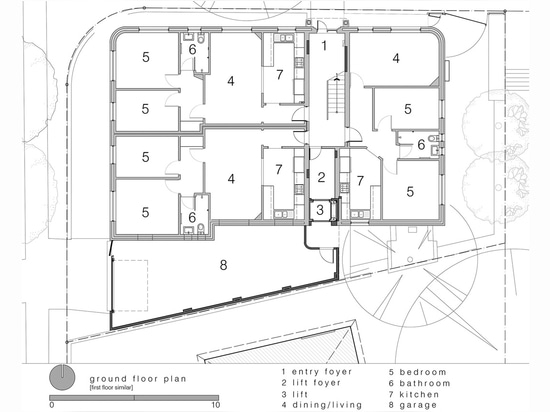 Luigi Rosselli Architects, The Bow Window Penthouse, Bondi Beach, Sydney, Australia. Ground floor plan