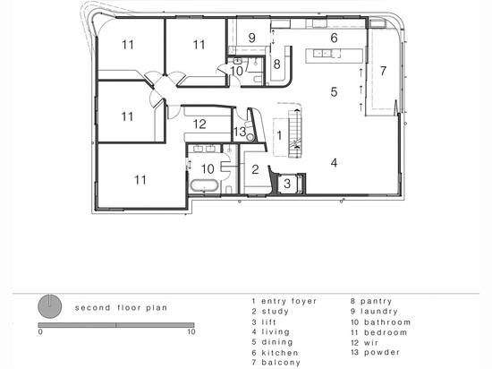 Luigi Rosselli Architects, The Bow Window Penthouse, Bondi Beach, Sydney, Australia. Second floor plan