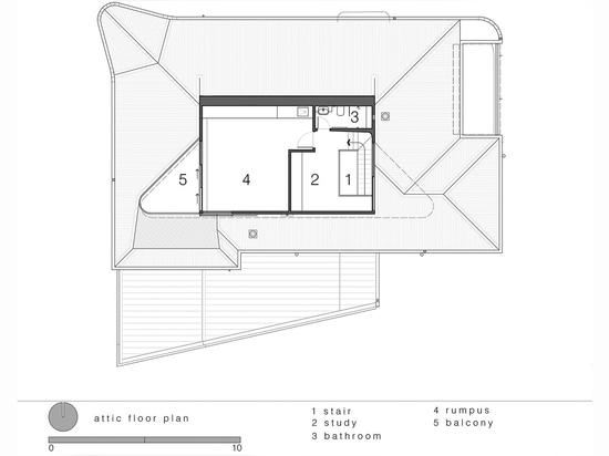 Luigi Rosselli Architects, The Bow Window Penthouse, Bondi Beach, Sydney, Australia. Attic plan