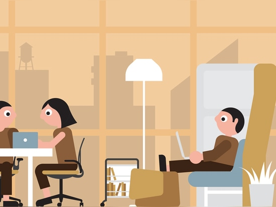 """Companies that want to encourage a """"collaborate"""" culture should use a flexible design with lots of group spaces. Illustration by Stephen Cheetham"""