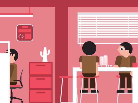 """Some companies need a more formal office layout to help staff focus on technical problems – this kind of """"control"""" culture needs plenty of individual workspaces. Illustration by Stephen Cheetham"""