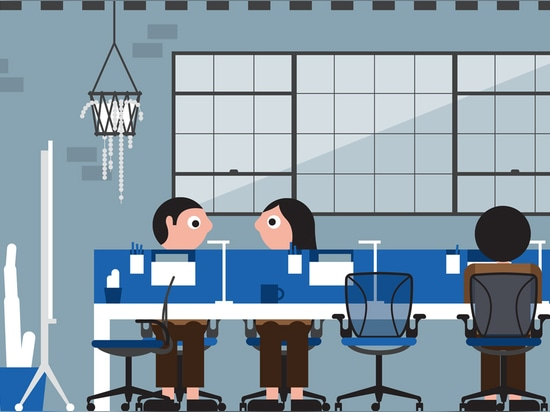 """Open desks allow workers to have some personal space without creating communication barriers and work well for a """"compete"""" office culture. Illustration by Stephen Cheetham"""