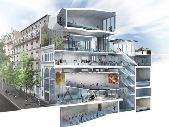 olivier palatre's cinema for réinventer paris topped with rooftop terrace