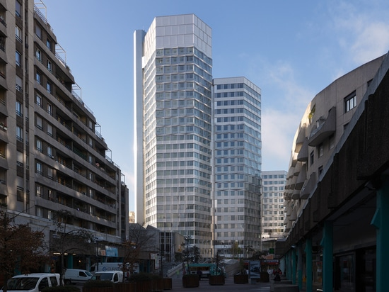 only the concrete petal shaped structure of the 3 towers has been preserved throughout the project